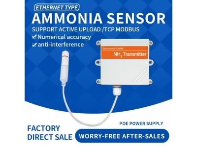 Ethernet DC/POE+RJ45 NH3 gas sensor Ammonia wireless sensor